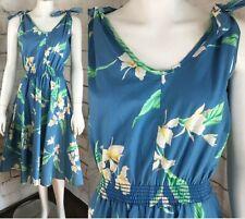 Vintage 70s Blue Hawaiian Floral Full Skirt Cotton Sun Dress Sundress M Disco