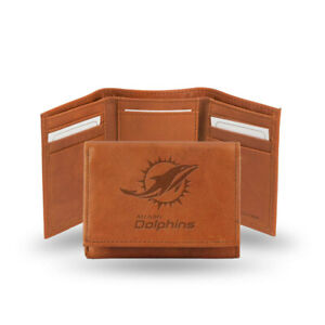 Miami Dolphins Tan Leather Tri Fold Wallet Embossed Logo