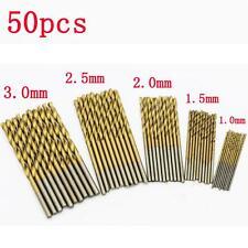 50 Pcs Titanium Coated HSS High Speed Steel Drill Bit Set Tool 1/1.5/2/2.5/3mm
