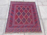 Old Hand Made Afghan Traditional Mushvani Oriental Red Wool Square Rug 120x105cm