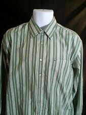 TOMMY HILFIGER MEN'S GREEN WHITE-STRIPED DRESS SHIRT Size L. EUC