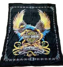 Harley Davidson Blanket NEW Mink Queen Size Double Side Plush Reversible Black