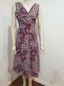 Rockmans Magenta Pink Grey Wrap Bodice Gored Dress Size 12