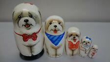 "Author's russian matryoshka ""Doggie Bichon Frise""."