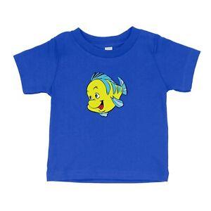 Cute Little Fish Toddler Kids Boy Tee T-Shirt Gift Print Flounder Little Mermaid