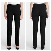 Lafayette 148 New York Black Barrow Stretch Straight Cut Wool Pants Women 12 NWT