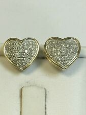 Fabulous 9 Carat Yellow Gold DIAMOND Set Stud HEART Earrings