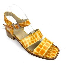 COMEDIE FRANCAISE Yellow White Embossed Patent Leather Sandals Size 9 - 9.5 / 40