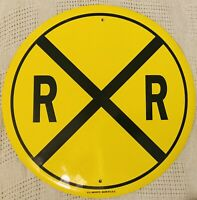 RAILROAD ROUND VINTAGE STEEL SIGN MADE IN USA WARNING RAIL ROAD AHEAD