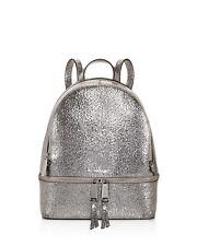 Retail$328 Michael Kors Rhea Zip Metallic Medium Leather Backpack Pewter Silver