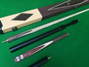 Handmade 57 Inch 3/4 Champion Snooker Cue Set with Brown/Cream Case + Extensions