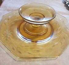 Antique Vtg Depression Pale Yellow plate Glass with footed bowl