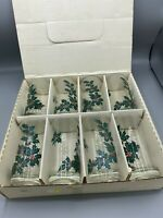 Vintage Christmas Lotus Holly Glasses (set Of 8)