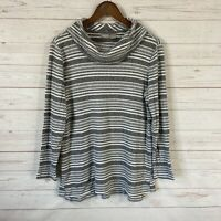 Chico's Zenergy Cowl Neck Ribbed Striped Knit Top Sz M 8/10 Gray Long Sleeve