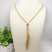 Charm Women Gold Tassel Chain Choker Chunky Statement Bib Long Necklace Jewelry