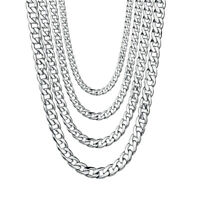 "Mens 18""-36"" Stainless Steel Silver Tone Chain Cuban Curb Necklace 3/5/7/9/11mm"