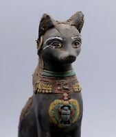 Rare EGYPT EGYPTIAN BASTET ANTIQUES CAT Ubasti GODS Black Carved STONE BC