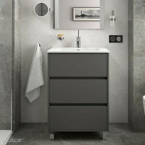 Arenys 600mm 3 drawer Matt Grey basin unit With 600 basin & chrome Feet RRP £499
