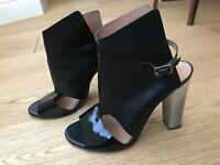 ALTIEBASSI OPTICA SHOES IN BLACK LEATHER AND PATENT SIZE UK 6 - EUR 39