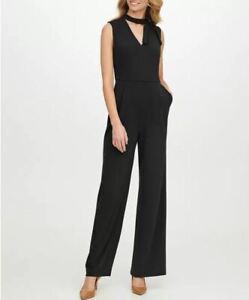 Calvin Klein Women's Black Tie Neck Wide Leg Jumpsuit Size 10 - NEW