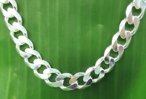 """MADE IN ITALY 925 Sterling silver 11.65mm wide CURB 20""""24"""" CHAIN NECKLACE UNISEX"""