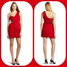 new $158 laundry By design red silver stud draped 1 shoulder DRESS 6 s