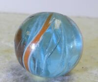 #12280m Vintage German Blue Tinted Glass Latticino Swirl Marble .81 Inches