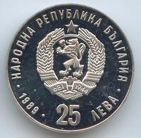 GS981 - Bulgarien 25 Leva 1990 KM#190 Winter Olympiade 1992 Albertville Eislauf