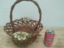 Beautiful Vintage wicker basket frail with flowers in porcelain handmade crafts