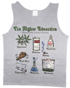 Men's tank top funny weed pot 420 stoner decal muscle tee sleeveless shirt