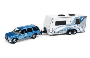 1997 CHEVROLET TAHOE BLUE W/ CAMPER TRAILER 1/64 CAR BY JOHNNY LIGHTNING JLSP019