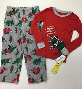 Boys Carter's Dinosaur Christmas Pajamas, Size 5/ 5A.  Merry Rexmas.