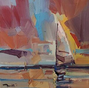 JOSE TRUJILLO Oil Painting IMPRESSIONISM CONTEMPORARY Seascape Sailboats Sunset