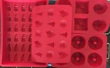 Silicone Baking Pan Cake Cupcakes Candy Jello Mold & Wire Racks Christmas Lot
