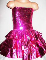 GIRLS BRIGHT PINK SPARKLING SEQUIN RUFFLE PRINCESS PAGEANT DANCE PARTY DRESS
