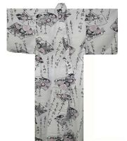 "Japanese Women Yukata Kimono Robe Kanji Made in Japan 56"" #M EK323"
