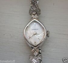 Caravelle 14K Solid Gold 17 Jewels Diamond Accent Watch