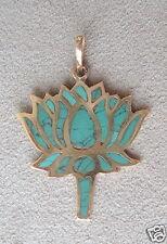 Lotus Flower Pendant Inlaid Turquoise Mosaic Brass Metal - Handmade in Nepal