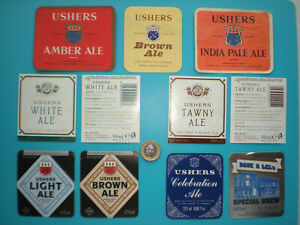 X11 different Ushers Brewery, Trowbridge bottle labels - used