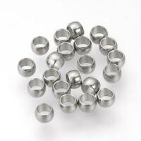1,000pcs 304 Stainless Steel Crimp Bead 3x2mm Jewelry Finding Making End Cord
