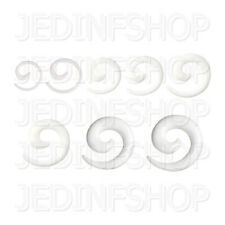 Ear Taper Stretcher Expander - Spiral Snail | 1.6mm-10mm | White Acrylic