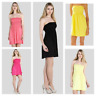 Womens Sheering Boob Tube Gather Bandeau Top Summer Mini Dress Strapless Top