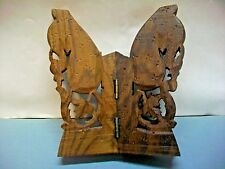 3D CARVED HINGED 3 SIDED STAND WOODENWARE DECORATIVE VINTAGE WOOD ART COLLECTIBL
