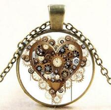 New Vintage Steampunk Heart Photo Cabochon Glass Chain Pendant Necklace Jewelry