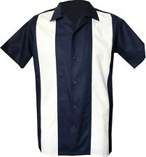Rockabilly Fashions Retro Vintage Bowling 1950 1960 Men's Shirt Navy Blue White