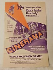 ORIGINAL Vintage 'WARNER HOLLYWOOD THEATRE' RESERVED SEATS ORDER FORM; c. 1950's