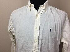 Polo Ralph Lauren Classic 100% Linen Ivory Blake Long Sleeve Shirt Men Size L