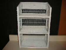 VTG Wicker Rattan White Wall Shelf 3 Tier Shabby Chic Boho Mid Century Modern