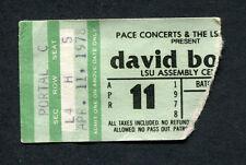 Original David Bowie 1978 Concert Ticket Stub Lsu Stage Tour Heroes Isolar Ii