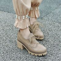 Womens Block Mid Heels Round Toe Lace Up Shoes Chunky Platform Oxfords Fashion